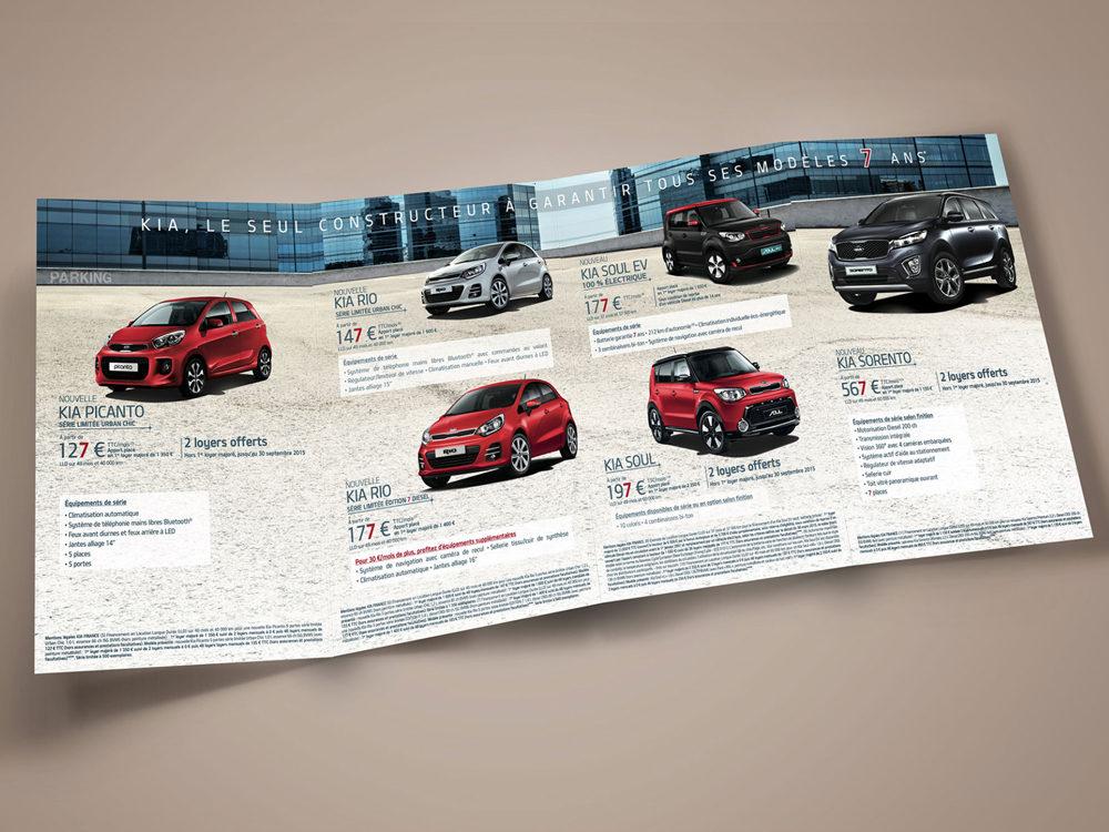leaflet edition kia motors - créé par Romain Cotto, Directeur Artistique 360 Print/film/digital