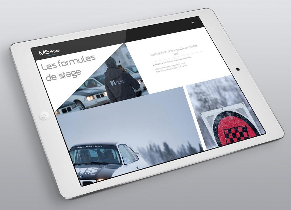 Création nouveau Site MS Drive, Stages - créé par Romain Cotto, Directeur Artistique 360 Print/film/digital