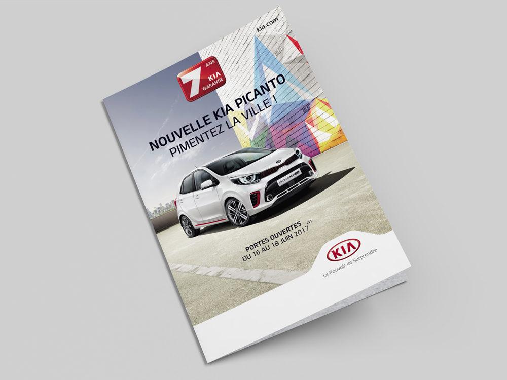 Couverture leaflet edition kia Picanto - créé par Romain Cotto, Directeur Artistique 360 Print/film/digital