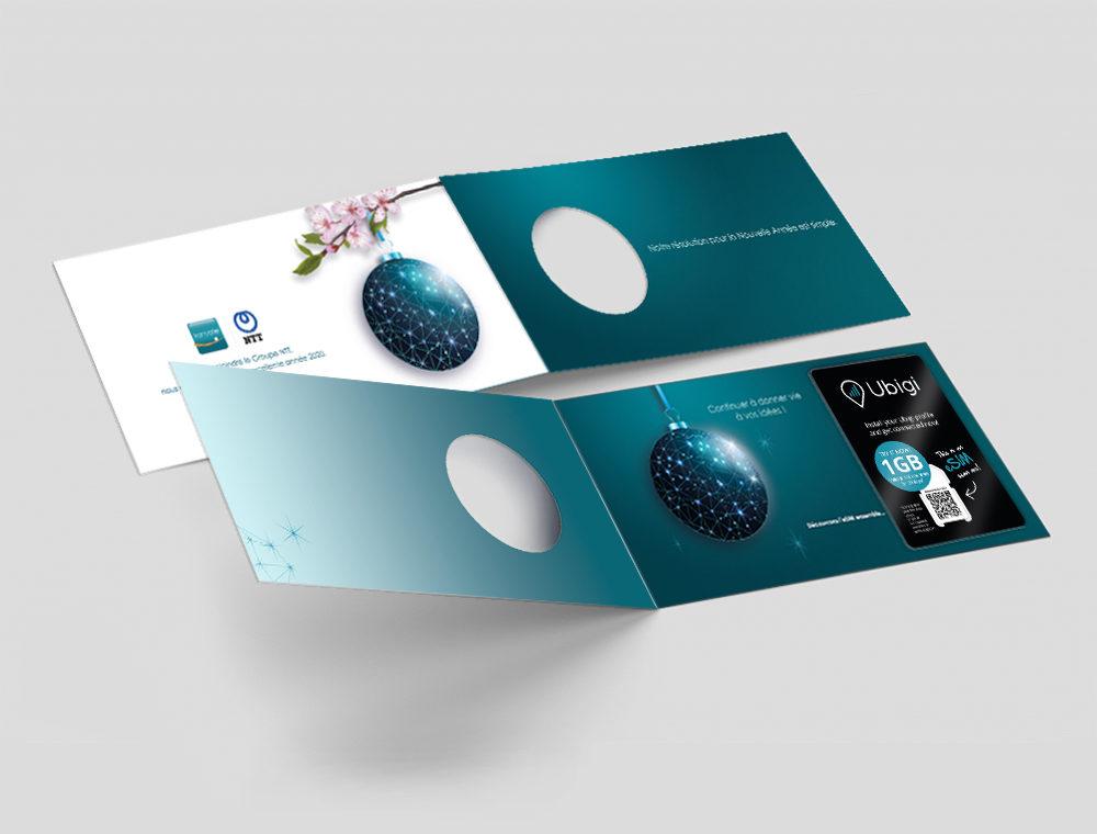 Carte Voeux Print Transatel Anglais et Français - créée par Romain Cotto, Directeur Artistique 360 Print/film/digital